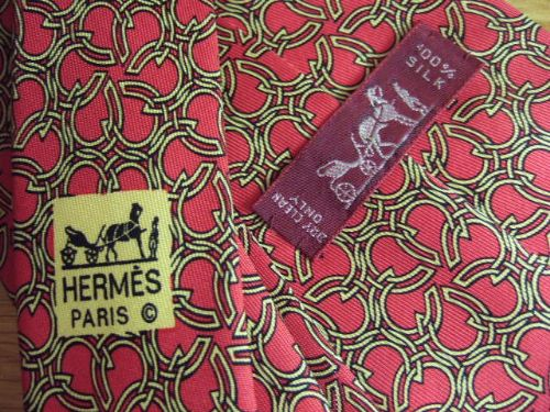 HERMES Red Silk 100% Silk Tie 7581 SA Horseshoes